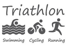 Silhouettes figures triathlon athletes. Swimming, cycling and running vector symbols Royalty Free Stock Image