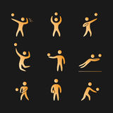 Silhouettes of figures volleyball players icons set. Volleyball  symbols Royalty Free Stock Photography