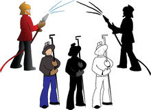 Silhouettes of firefighters and steelmaker. Options  on a white background Royalty Free Stock Image