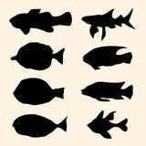 Silhouettes fish Royalty Free Stock Photo