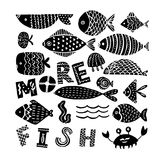 Silhouettes of fishes on a white background. Creative Hand Drawn texture, marine theme design Royalty Free Stock Photos