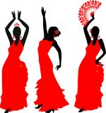 Silhouettes of flamenco dancer Stock Photography