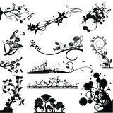 Silhouettes Floral Stock Images