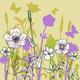 Silhouettes  of flowers and grass Royalty Free Stock Photo