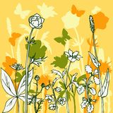Silhouettes  of flowers and grass Royalty Free Stock Photography