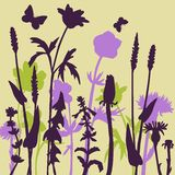 Silhouettes  of flowers and grass Royalty Free Stock Image