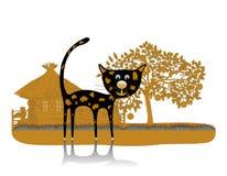 Silhouettes folles de chats noirs sur le fond blanc illustration de vecteur