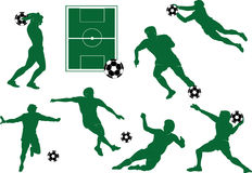 Silhouettes of the football players Stock Photography