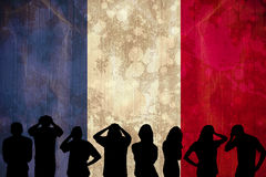 Silhouettes of football supporters Stock Photography