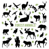 Silhouettes of the forest animals. Collection of silhouettes of forest animals isolated on white background Royalty Free Stock Photo