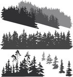 Silhouettes of the forest. Silhouettes of various woods and pine trees for your design, isolated objects Royalty Free Stock Images
