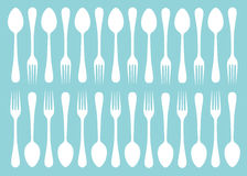 Silhouettes of fork and spoon Royalty Free Stock Image