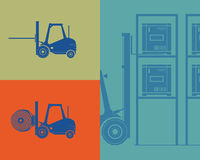 Silhouettes of forklifts. Forklift loading goods Stock Photo