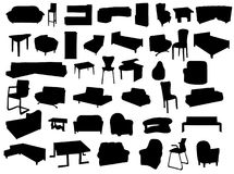 Silhouettes of forniture Royalty Free Stock Photography