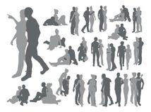 Silhouettes fortement détaillées de couples Image libre de droits
