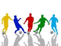 silhouettes fotboll Royaltyfri Foto