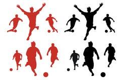 silhouettes fotboll royaltyfri illustrationer