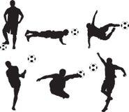 silhouettes fotboll Arkivbilder