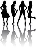 Silhouettes of four beautiful girls Royalty Free Stock Photos