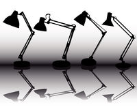 Silhouettes of the four table lamps Stock Images