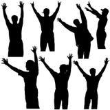 silhouettes för 1 händer upp Royaltyfri Fotografi