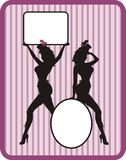 Silhouettes with frame. Silhouettes of cabaret girls with frames for text Royalty Free Stock Photos