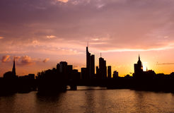Silhouettes of Frankfurt architecture over sunset Stock Photo