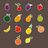 Silhouettes of Fruit Stickers Royalty Free Stock Images
