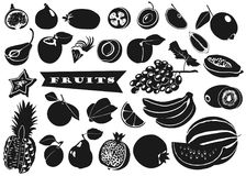 Silhouettes of fruits with leaves on white background. Set. Vector. Stock Image