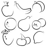 Silhouettes of fruits and vegetables on a white background Stock Image