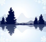 Silhouettes of fur-trees and mountains Royalty Free Stock Photography