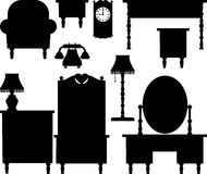 Silhouettes of furniture. Silhouettes of various antique furniture Stock Photo