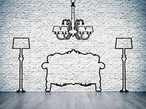 Silhouettes of the furniture Stock Photos