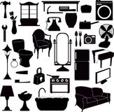 Silhouettes furniture and other objects Stock Photo