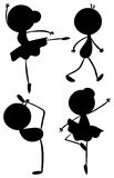 Silhouettes of a girl and a boy dancing Stock Photos