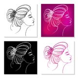 Card 8 March with silhouette of a girl. 4 silhouettes of a girl face in profile on white, black and pink background Stock Illustration