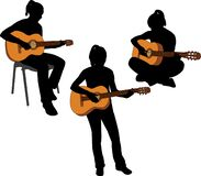 Silhouettes of girl playing acoustic guitar