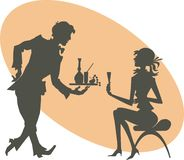Silhouettes of the girl and waiter Royalty Free Stock Photography
