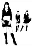Silhouettes of girls. Silhouettes of young girls in high boots Stock Images