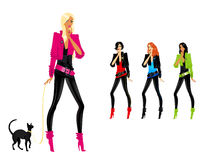 Silhouettes of girls. Set of beautiful fashionable glamour girls with a cat Stock Illustration