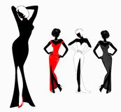 Silhouettes of girls. Set of beautiful silhouettes of girls on a white background for a design Royalty Free Illustration