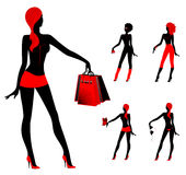Silhouettes of girls. Set of beautiful silhouettes of girls on a background for a design Royalty Free Stock Images
