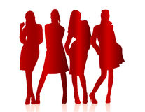 Silhouettes of girls Royalty Free Stock Images