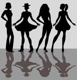 Silhouettes of the girls Royalty Free Stock Photo