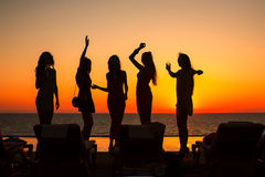 Silhouettes of girls Stock Images