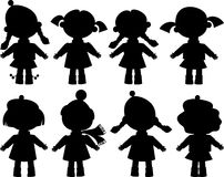 Silhouettes of girls. Dolls, little girl, black silhouette, isolated Royalty Free Stock Image
