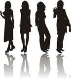 Silhouettes of girls. Vector. Illustrations Royalty Free Stock Photography