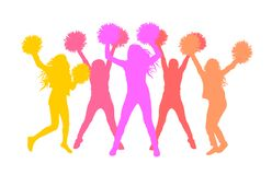 Silhouettes of girls cheerleaders with pom-poms. Vector illustration.  royalty free illustration