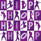 Silhouettes of girls dancing hip hop. Seamless pattern Stock Photos