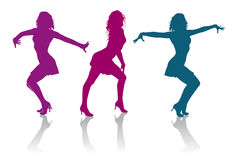 Silhouettes of girls dancing ladies dance. Detailed silhouettes of girls dancing ladies dance Stock Photo